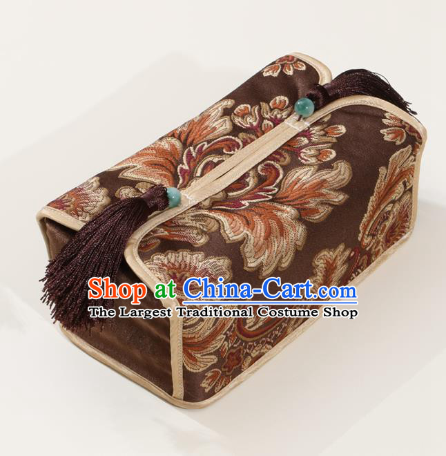 Chinese Traditional Household Accessories Classical Pattern Deep Brown Brocade Paper Box Storage Box Cover