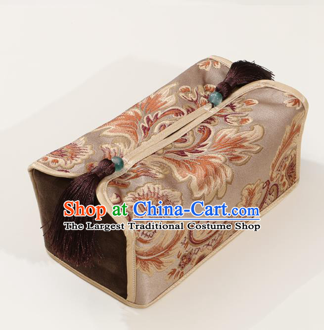 Chinese Traditional Household Accessories Classical Pattern Khaki Brocade Paper Box Storage Box Cover