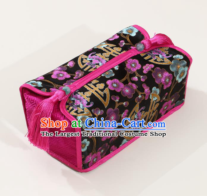 Chinese Traditional Household Accessories Classical Plum Blossom Pattern Black Brocade Paper Box Storage Box Cover
