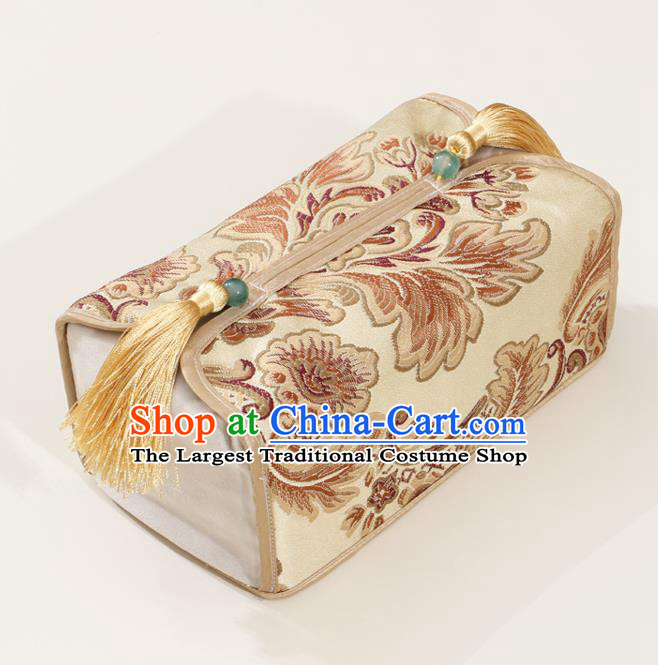 Chinese Traditional Household Accessories Classical Pattern Golden Brocade Paper Box Storage Box Cover