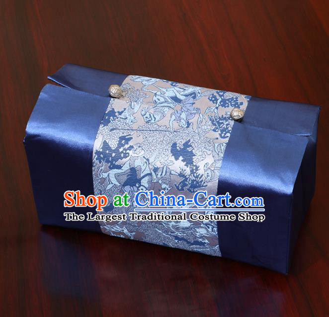 Chinese Traditional Household Accessories Classical Pattern Navy Brocade Paper Box Storage Box Cove