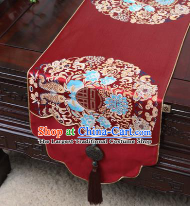 Chinese Traditional Fishes Pattern Wine Red Brocade Table Cloth Classical Household Ornament Table Flag