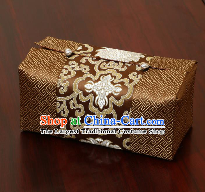 Chinese Traditional Household Accessories Classical Chrysanthemum Pattern Brown Brocade Paper Box Storage Box Cove