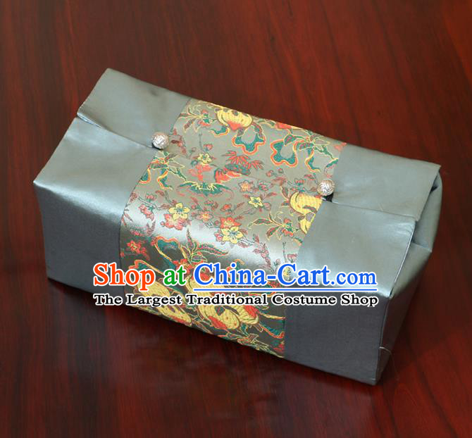 Chinese Traditional Household Accessories Classical Peach Pattern Blue Brocade Paper Box Storage Box Cove