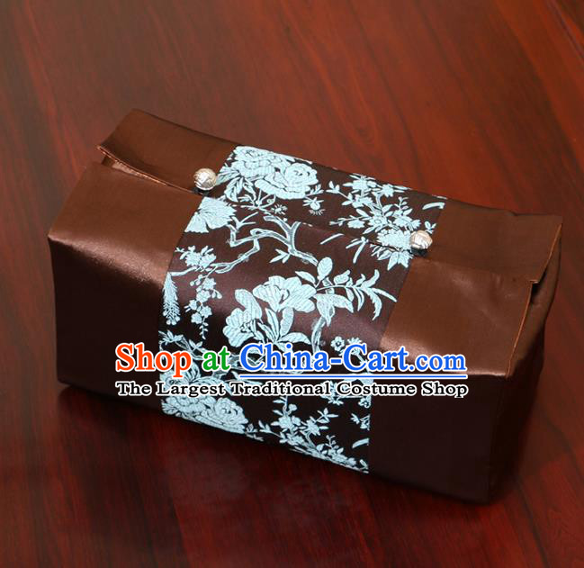 Chinese Traditional Household Accessories Classical Peony Pattern Brown Brocade Paper Box Storage Box Cove