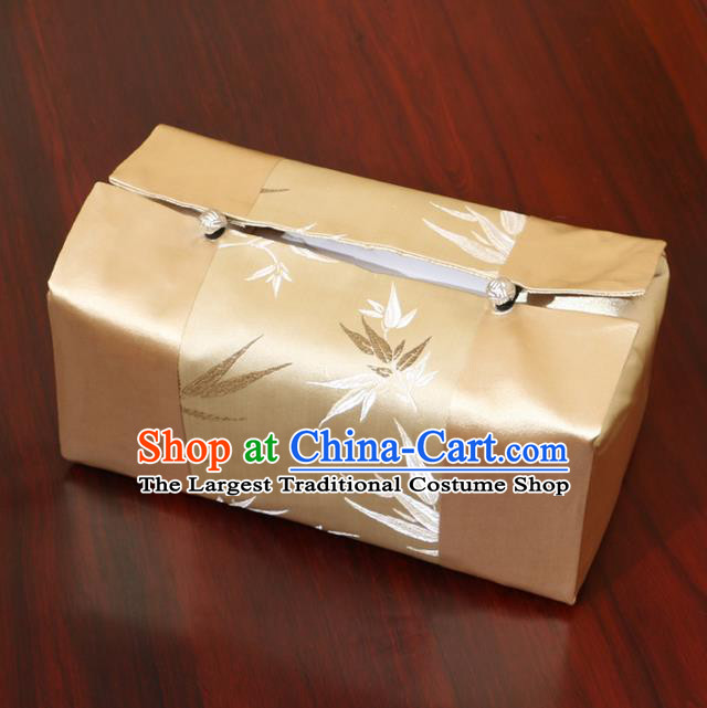 Chinese Traditional Household Accessories Classical Bamboo Pattern Golden Brocade Paper Box Storage Box Cove