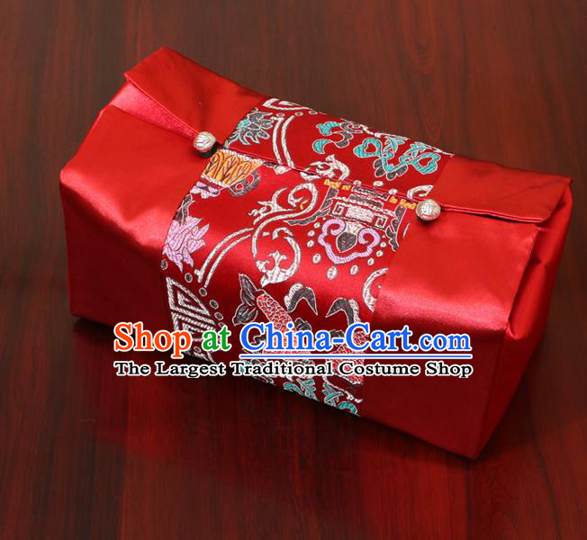 Chinese Traditional Household Accessories Classical Fish Pattern Red Brocade Paper Box Storage Box Cove