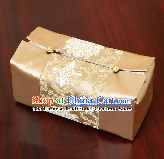Chinese Traditional Household Accessories Classical Chrysanthemum Pattern Golden Brocade Paper Box Storage Box Cove