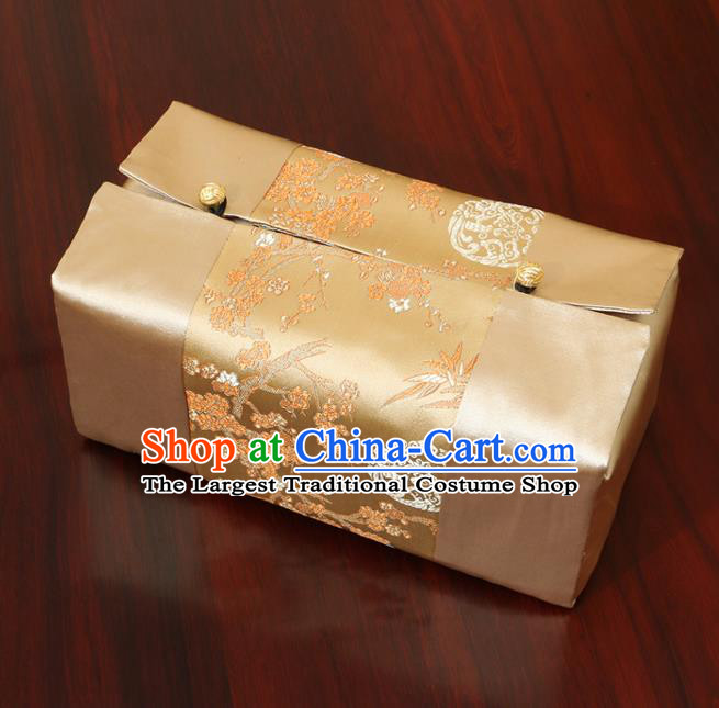 Chinese Traditional Household Accessories Classical Plum Blossom Pattern Golden Brocade Paper Box Storage Box Cove
