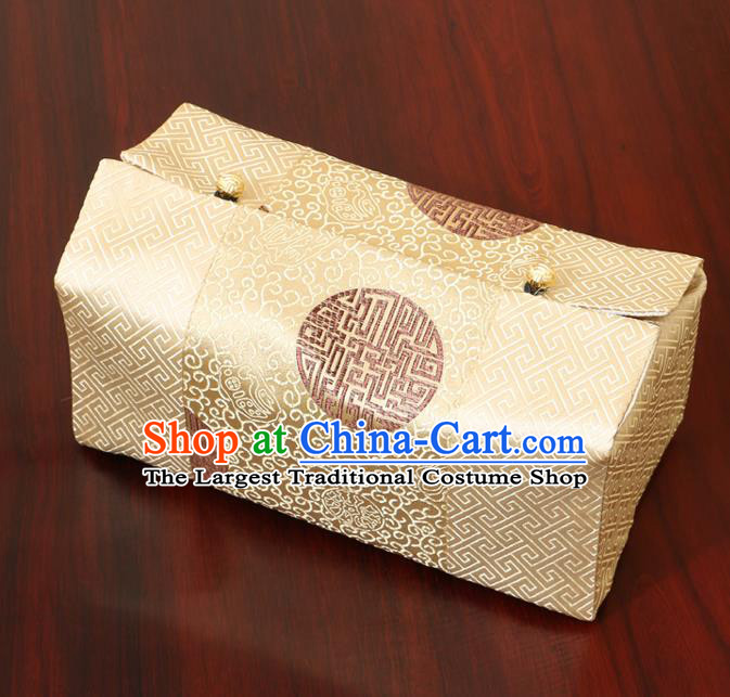 Chinese Traditional Household Accessories Classical Pattern Yellow Brocade Paper Box Storage Box Cove