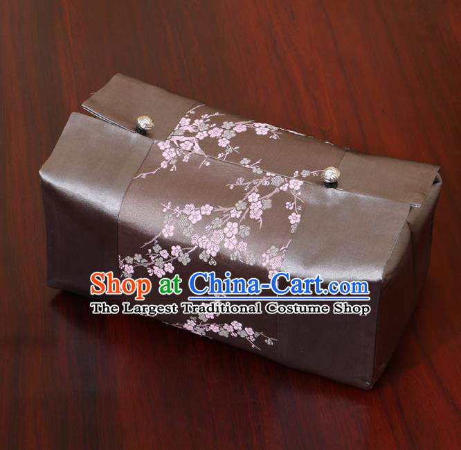 Chinese Traditional Household Accessories Classical Plum Blossom Pattern Grey Brocade Paper Box Storage Box Cove
