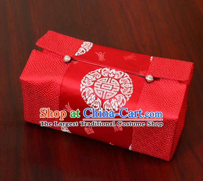 Chinese Traditional Household Accessories Classical Pattern Red Brocade Paper Box Storage Box Cove