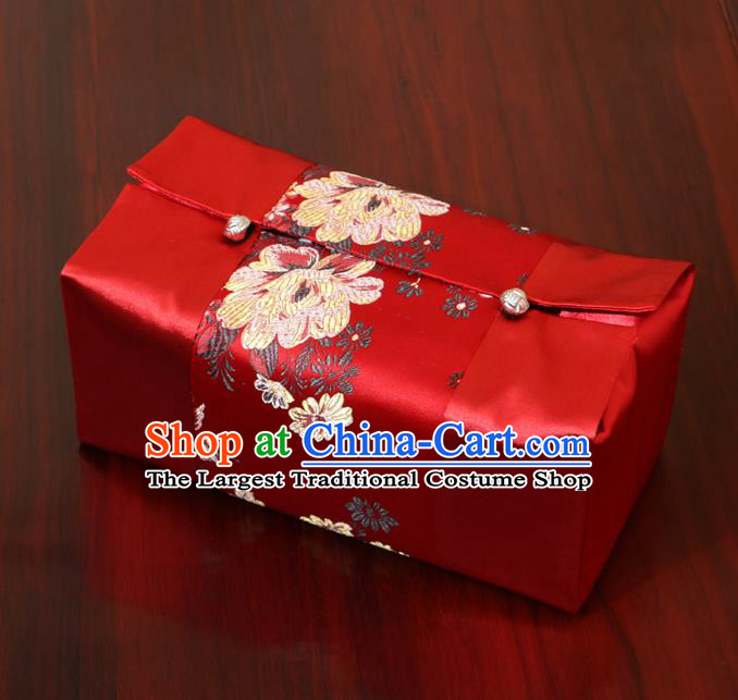 Chinese Traditional Household Accessories Classical Peony Pattern Red Brocade Paper Box Storage Box Cove