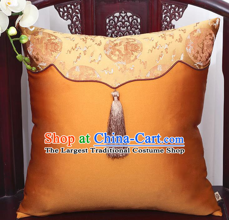 Chinese Traditional Dragons Pattern Golden Brocade Tassel Back Cushion Cover Classical Household Ornament