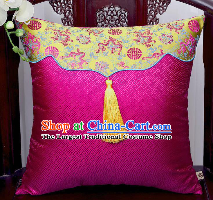 Chinese Traditional Dragons Pattern Rosy Brocade Tassel Back Cushion Cover Classical Household Ornament