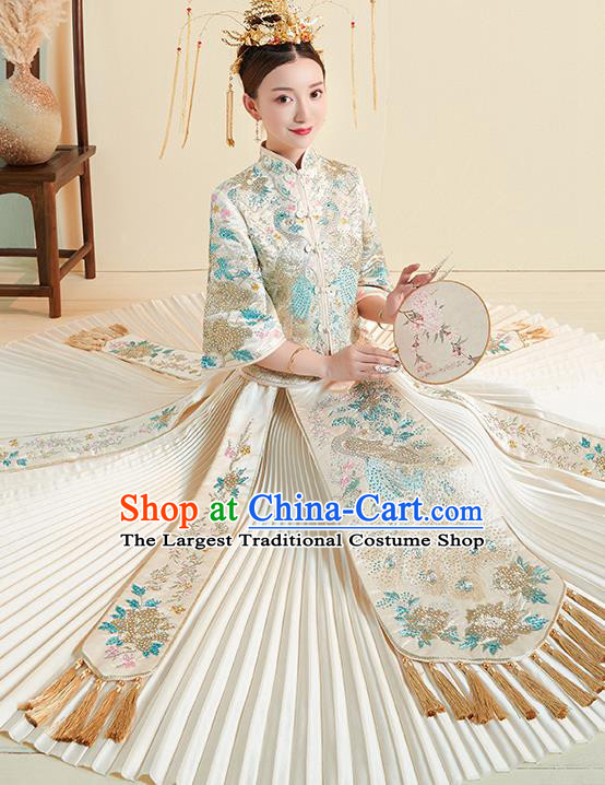 Chinese Traditional Wedding Costumes White Xiuhe Suits Ancient Embroidered Bride Toast Full Dress for Women
