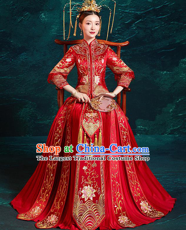 5bfc70680c Chinese Traditional Wedding Costumes Embroidered Lotus Red Xiuhe Suits  Ancient Bride Toast Full Dress for Women