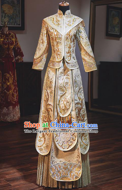 Chinese Traditional Wedding Costumes Embroidered Phoenix Golden Xiuhe Suits Ancient Bride Toast Full Dress for Women