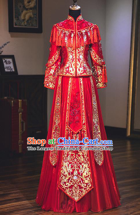 Chinese Traditional Embroidered Red Xiuhe Suits Ancient Bride Toast Wedding Costumes for Women
