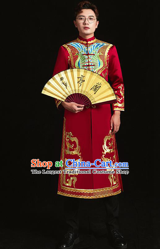 Chinese Traditional Wedding Clothing Ancient Bridegroom Embroidered Costumes for Men