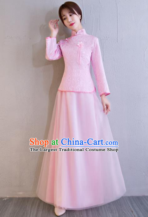 Chinese Traditional Bride Pink Xiuhe Suits Ancient Handmade Wedding Costumes for Women