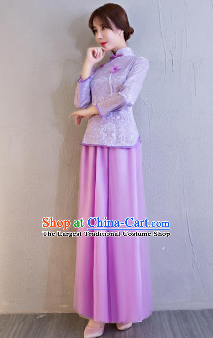 Chinese Traditional Bride Purple Xiuhe Suits Ancient Handmade Wedding Costumes for Women