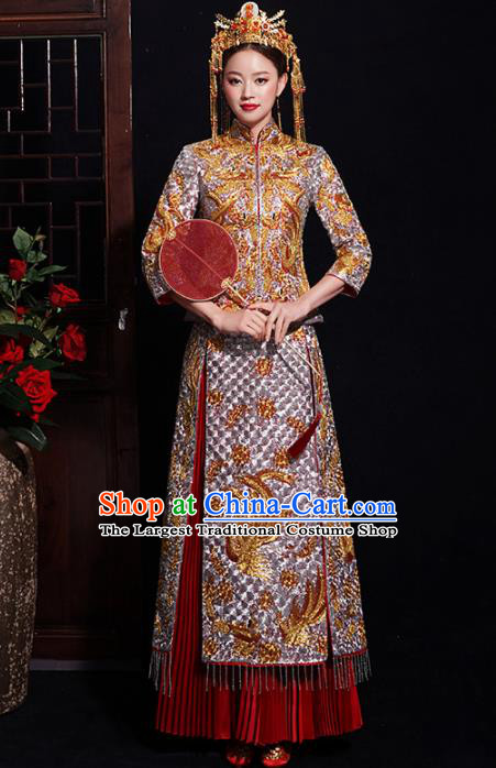 Chinese Traditional Bride Embroidered Diamante Xiuhe Suits Ancient Handmade Wedding Costumes for Women