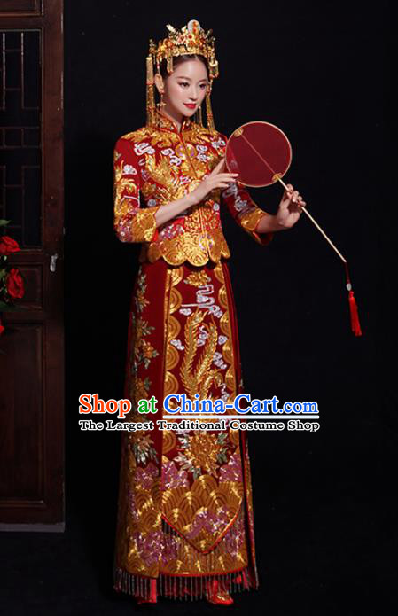 Chinese Traditional Bride Embroidered Red Xiuhe Suits Ancient Handmade Wedding Costumes for Women
