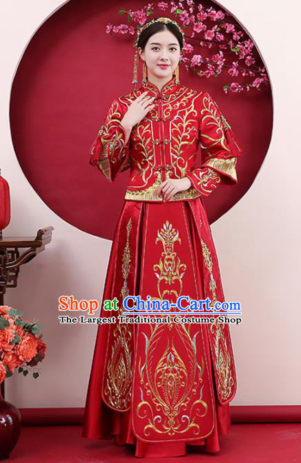 Chinese Traditional Bride Diamante Red Xiuhe Suits Ancient Handmade Wedding Costumes for Women