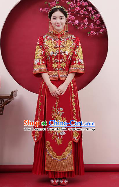Chinese Traditional Bride Rhinestone Red Xiuhe Suits Ancient Handmade Wedding Costumes for Women