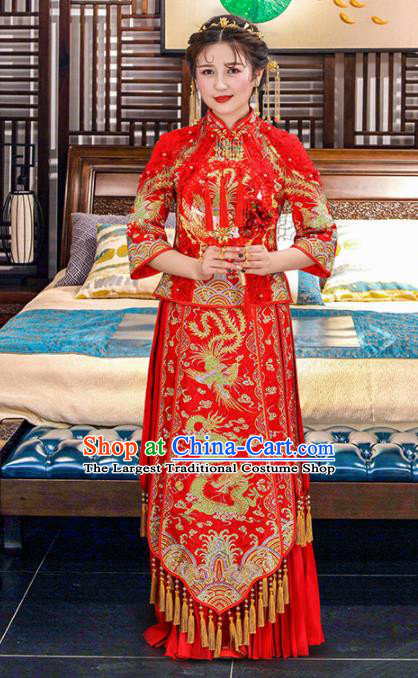 Chinese Traditional Bride Dragon Phoenix Red Xiuhe Suits Ancient Handmade Embroidered Wedding Costumes for Women