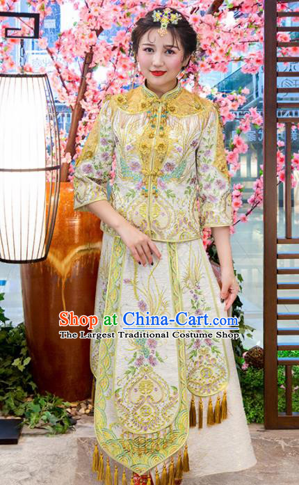 Chinese Traditional Bride Golden Xiuhe Suits Ancient Handmade Embroidered Wedding Costumes for Women