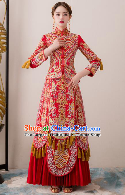 Chinese Traditional Bride Embroidered Diamante Xiuhe Suits Ancient Handmade Red Wedding Dresses for Women