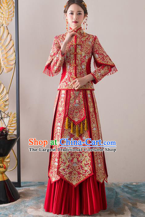 Chinese Traditional Bride Embroidered Slim Xiuhe Suits Ancient Handmade Red Wedding Dresses for Women