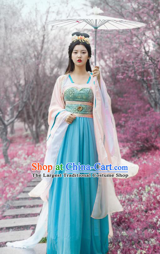 Traditional Chinese Ancient Drama Moon Goddess Costumes Tang Dynasty Princess Hanfu Dress for Women