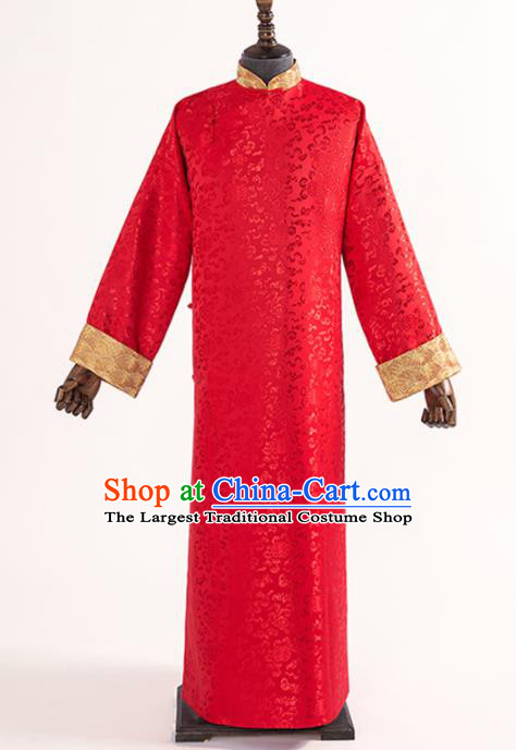 Chinese Traditional Wedding Red Silk Gown Ancient Bridegroom Embroidered Costumes for Men