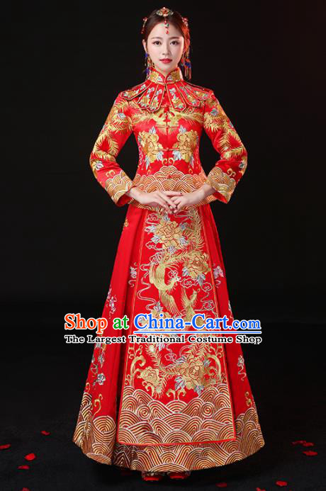 Chinese Traditional Embroidered Peony Cheongsam Ancient Bride Handmade Xiuhe Suits Wedding Dress for Women