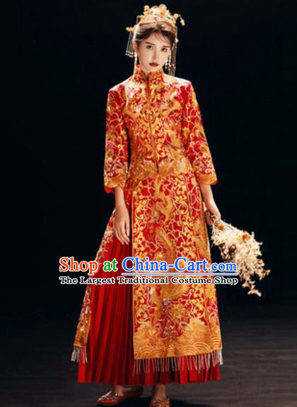 Chinese Traditional Embroidered Wedding Dress Cheongsam Ancient Bride Handmade Red Xiuhe Suits Costumes for Women