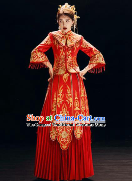 Chinese Traditional Embroidered Red Wedding Dress Cheongsam Ancient Bride Handmade Xiuhe Suits Costumes for Women