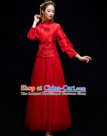 Chinese Traditional Wedding Dress Embroidered Red Cheongsam Ancient Bride Handmade Xiuhe Suits Costumes for Women