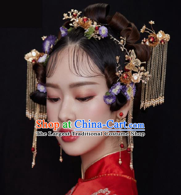 Chinese Traditional Wedding Hair Accessories Ancient Hairpins Complete Set for Women