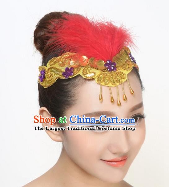 Chinese Traditional Folk Dance Hair Accessories Classical Dance Red Feather Hair Clasp for Women