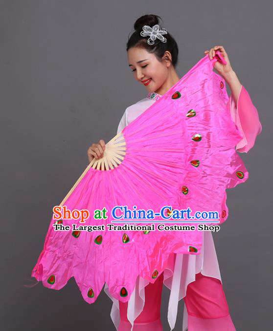 Chinese Traditional Folk Dance Props Classical Dance Fans Rosy Silk Fans