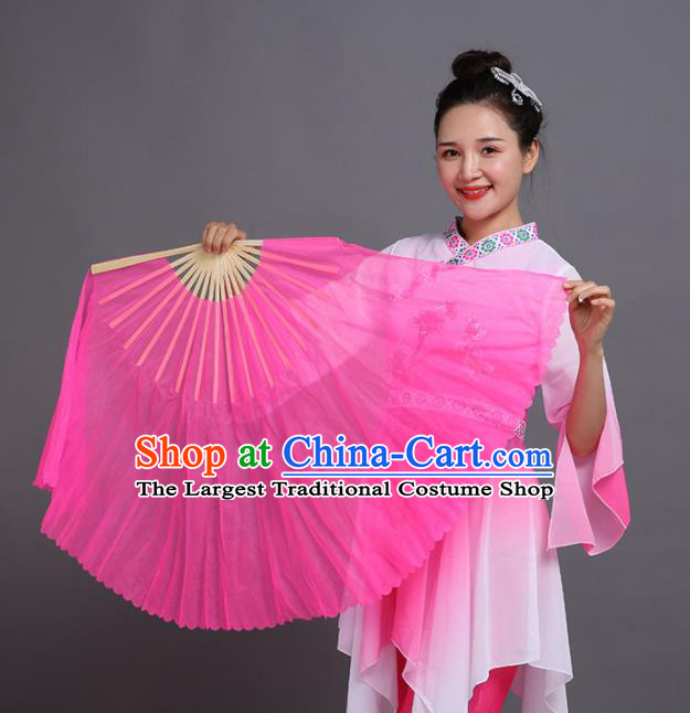 Chinese Traditional Folk Dance Props Classical Dance Fans Pink Silk Fans