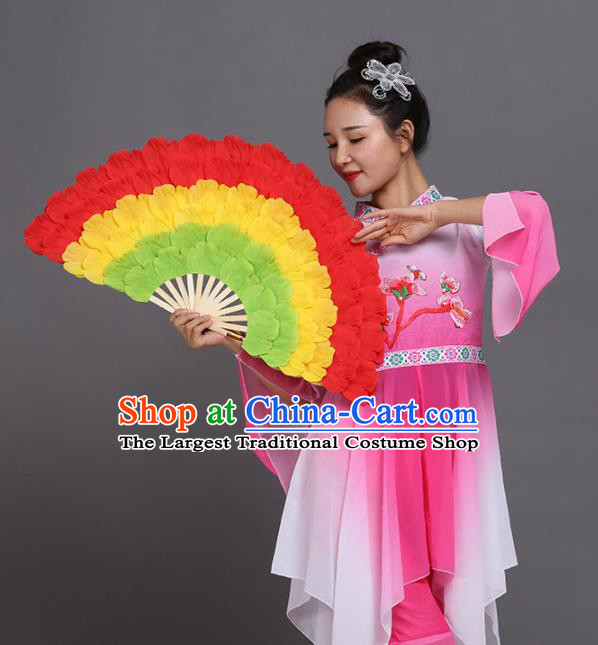 Chinese Traditional Folk Dance Props Classical Dance Fans Red Peony Fans
