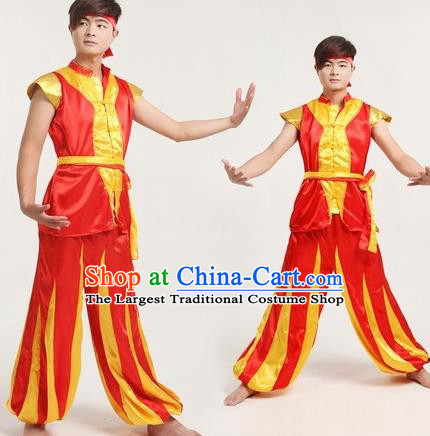 Chinese Traditional Folk Dance Costumes Drum Dance Yangko Dance Red Clothing for Men