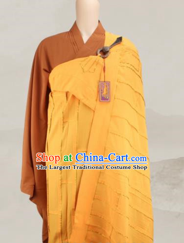 Chinese Traditional Buddhist Monk Clothing Yellow Cassock Buddhism Monks Costumes for Men