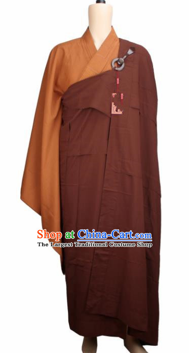 Chinese Traditional Buddhist Monk Clothing Brown Cassock Buddhism Monks Costumes for Men