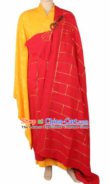 Chinese Traditional Buddhist Monk Clothing Arhat Red Cassock Buddhism Monks Costumes for Men