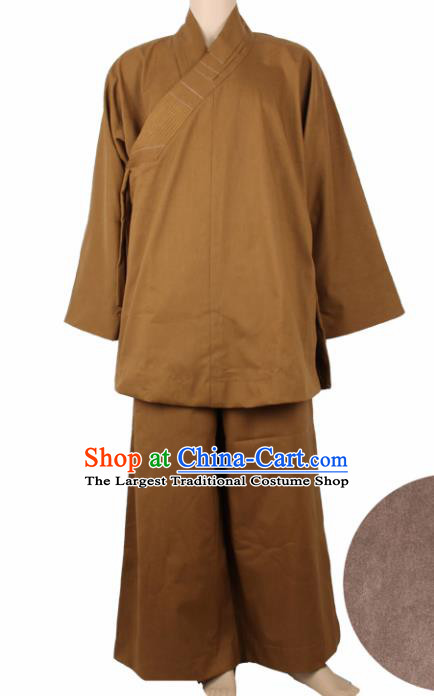 Chinese Traditional Buddhist Monk Clothing Buddhism Monks Brown Costumes for Men
